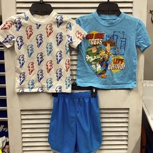 Toy Story Tee, Lightning Bolt Tee, Blue Shorts 4T